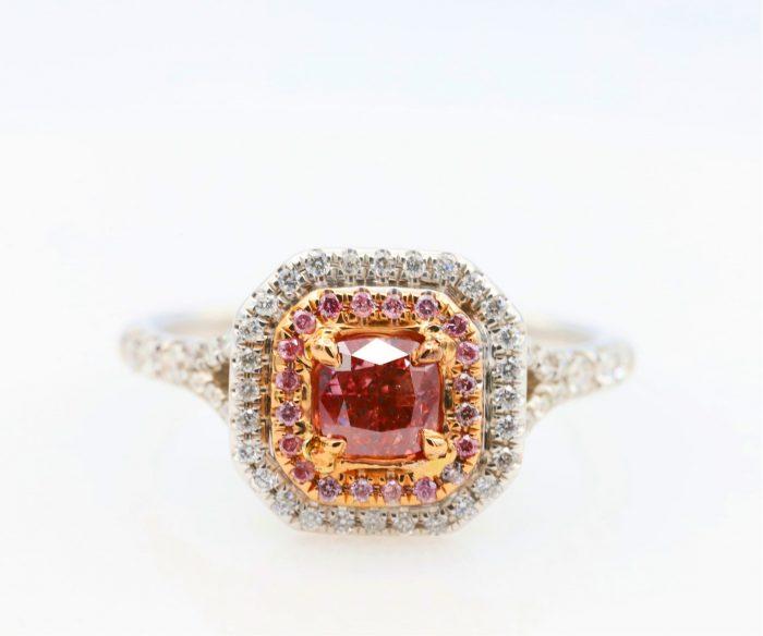 0.51ct intense pink ring1 700x584 - 1.21ct Fancy Intense & Vivid Pink Diamond Engagement Ring GIA 18K White Gold SI2