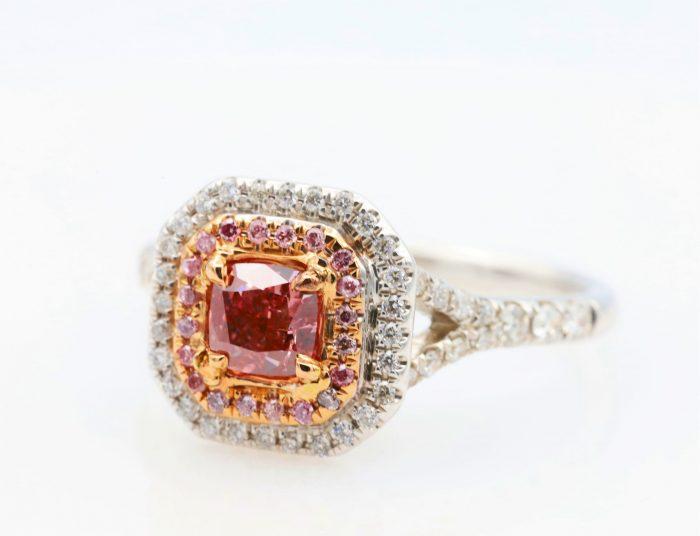 0.51ct intense pink ring3 700x536 - 1.21ct Fancy Intense & Vivid Pink Diamond Engagement Ring GIA 18K White Gold SI2
