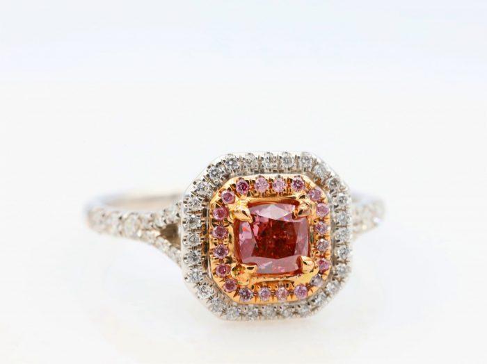 0.51ct intense pink ring36 700x524 - 1.21ct Fancy Intense & Vivid Pink Diamond Engagement Ring GIA 18K White Gold SI2