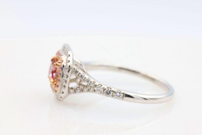 0.51ct intense pink ring9 700x467 - 1.21ct Fancy Intense & Vivid Pink Diamond Engagement Ring GIA 18K White Gold SI2