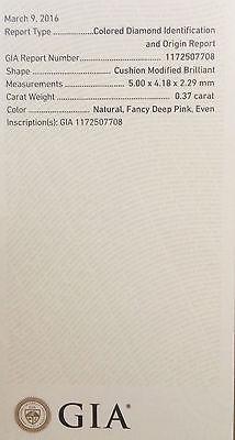 1 10 3 - Pink Diamond - Natural Loose Fancy Deep Pink GIA Certified 0.37ct Cushion SI1