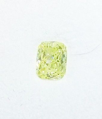 0.55ct Natural Loose Fancy Light Green Yellow Diamond GIA Certified Cushion SI1