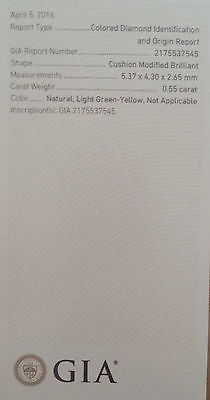 1 9 2 - 0.55ct Natural Loose Fancy Light Green Yellow Diamond GIA Certified Cushion SI1