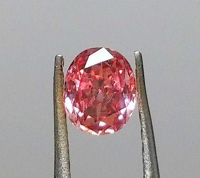 1 9 - Pink Diamond - Natural Loose Fancy Deep Pink GIA Certified 0.37ct Cushion SI1
