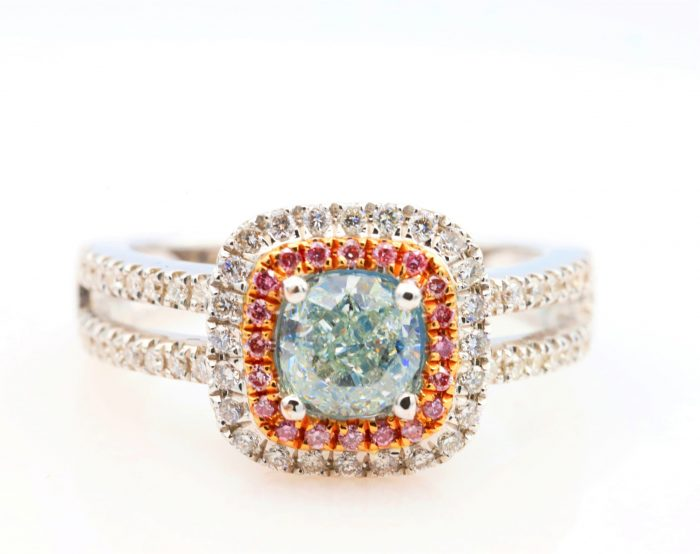 1.01ct light green ring1 700x554 - 1.50ct Natural Fancy Light Green And Intense Pink Diamonds Ring GIA Engagement