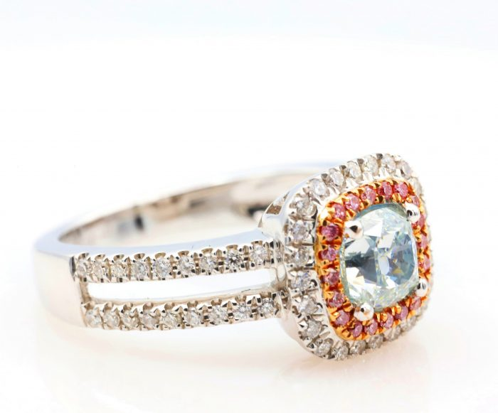 1.01ct light green ring33 700x581 - 1.50ct Natural Fancy Light Green And Intense Pink Diamonds Ring GIA Engagement