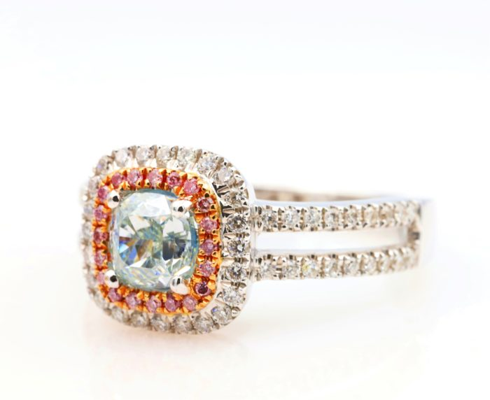 1.01ct light green ring4 700x572 - 1.50ct Natural Fancy Light Green And Intense Pink Diamonds Ring GIA Engagement