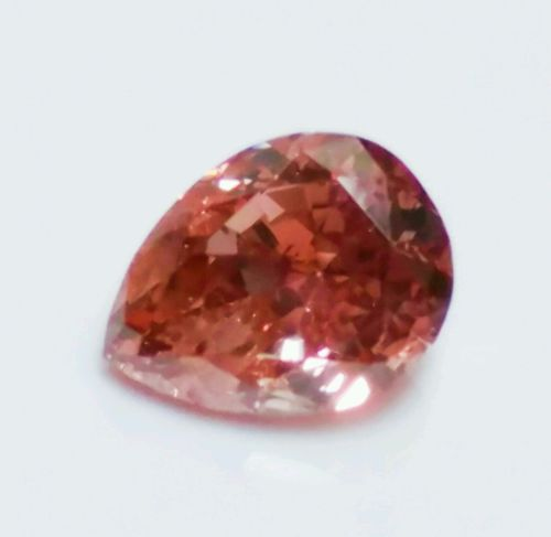 12 126 1 - Pink Diamond -0.48ct Natural Loose Fancy Deep Orangy Pink Red Color GIA Pear SI2