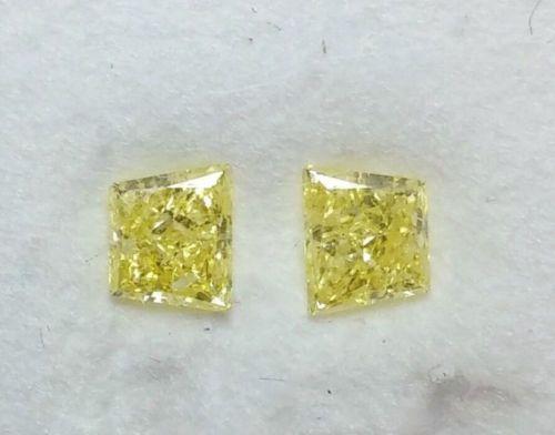 12 64 - 0.50ct Natural Loose Fancy Intense Yellow Diamonds Matching Pair Sides Stones