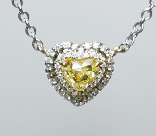 12 8 1 - Yellow Diamond Pendant And Chain 0.83 ct Fancy Yellow Heart Canary 100% natural