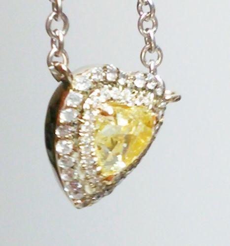 12 8 2 - Yellow Diamond Pendant And Chain 0.83 ct Fancy Yellow Heart Canary 100% natural