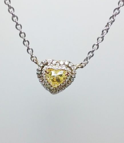 12 8 4 - Yellow Diamond Pendant And Chain 0.83 ct Fancy Yellow Heart Canary 100% natural