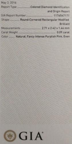 12 90 4 - Pink Diamond - 0.09ct Natural Loose Fancy Intense Purple Pink GIA Cert Marquise