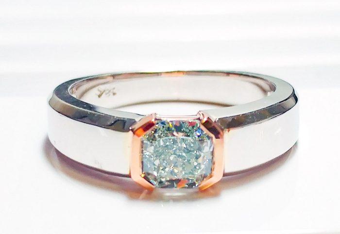 57 103 1 700x482 - Green Diamond - Men's Unisex Ring 1.29ct Natural Fancy Light Green GIA 18K Gold