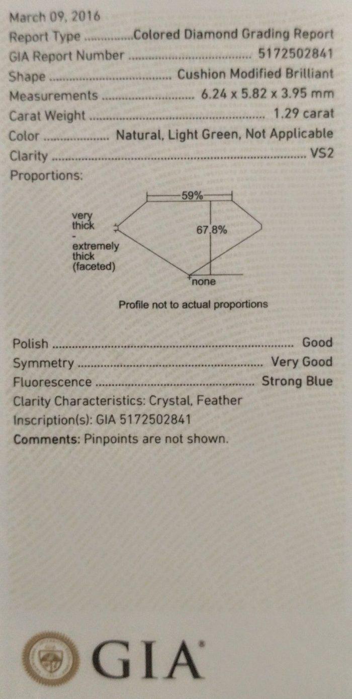 57 103 4 700x1390 - Green Diamond - Men's Unisex Ring 1.29ct Natural Fancy Light Green GIA 18K Gold