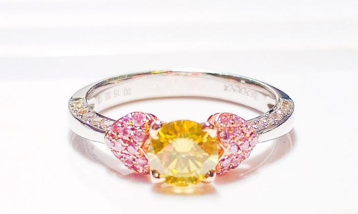 57 103 700x420 - Real Engagement Ring 1.15ct Natural Fancy Intense Yellow & Pink GIA 18K Gold