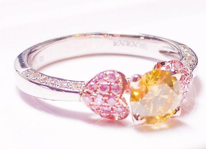 57 104 2 700x507 - Real Engagement Ring 1.15ct Natural Fancy Intense Yellow & Pink GIA 18K Gold