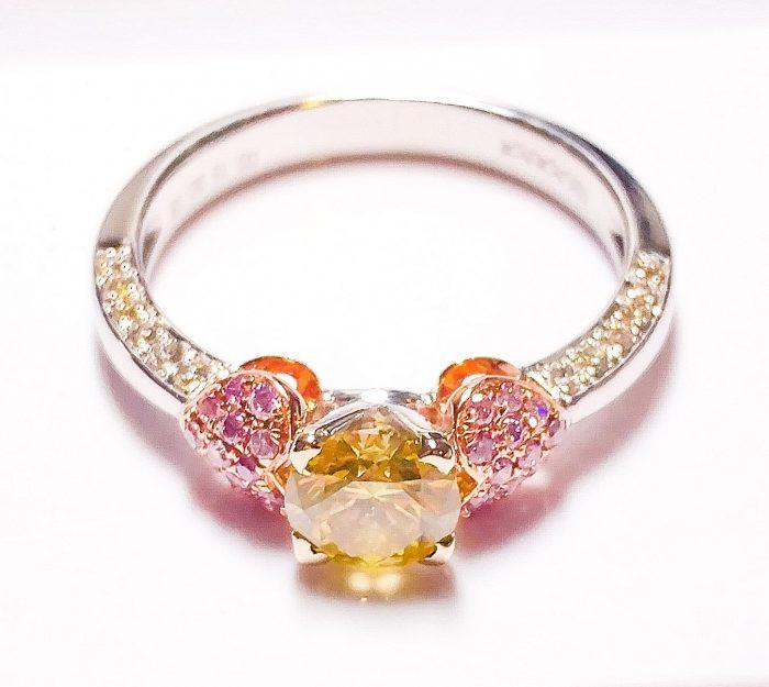 57 104 3 700x625 - Real Engagement Ring 1.15ct Natural Fancy Intense Yellow & Pink GIA 18K Gold