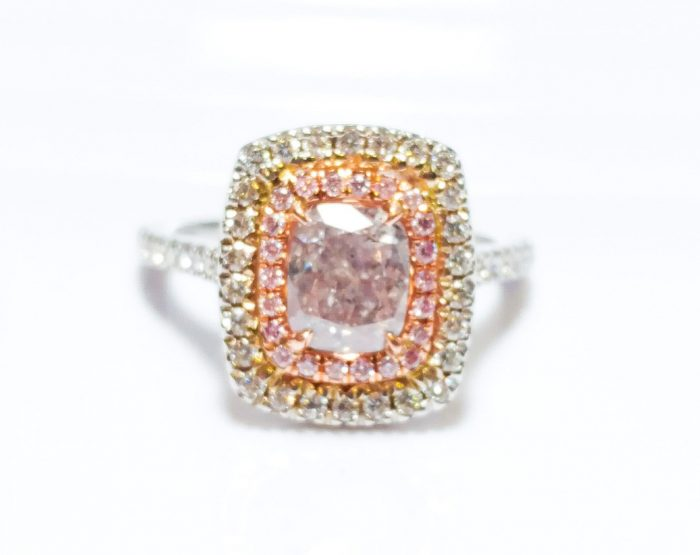 57 12 2 700x555 - 1.70 CT Fancy Pink Diamond Engagement Ring GIA Cushion Hallo 18K White Gold SI2