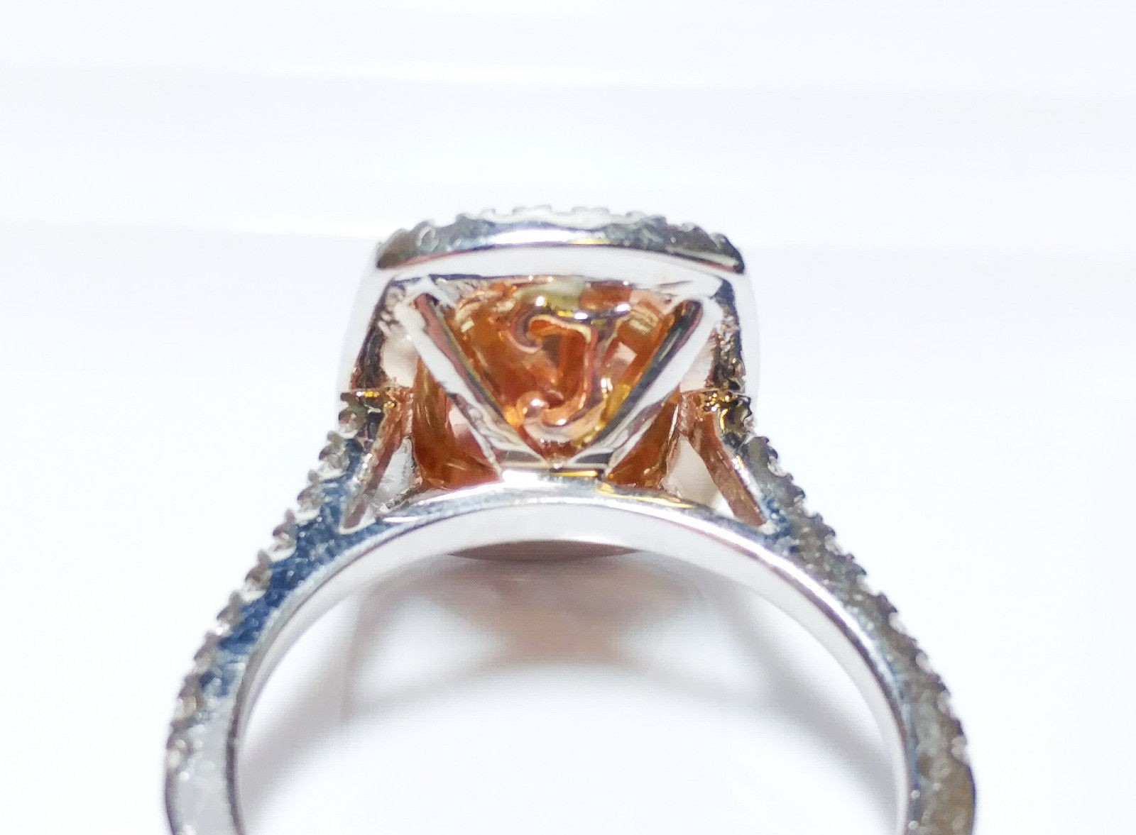 1.70 CT Fancy Pink Diamond Engagement Ring GIA Cushion Hallo 18K White Gold SI2
