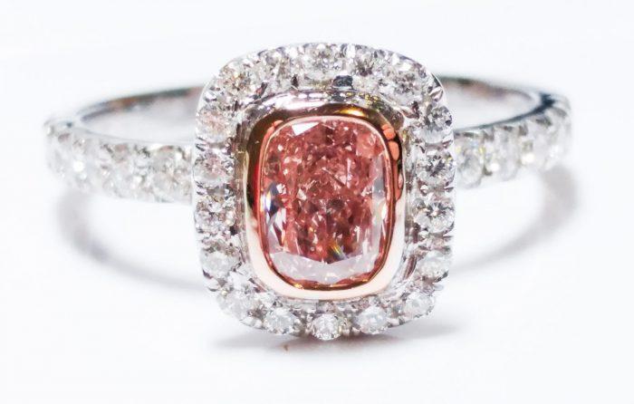 57 17 1 700x446 - 1.00ct Natural Fancy Orangy Pink Diamond Platinum Engagement Ring GIA Cushion SI