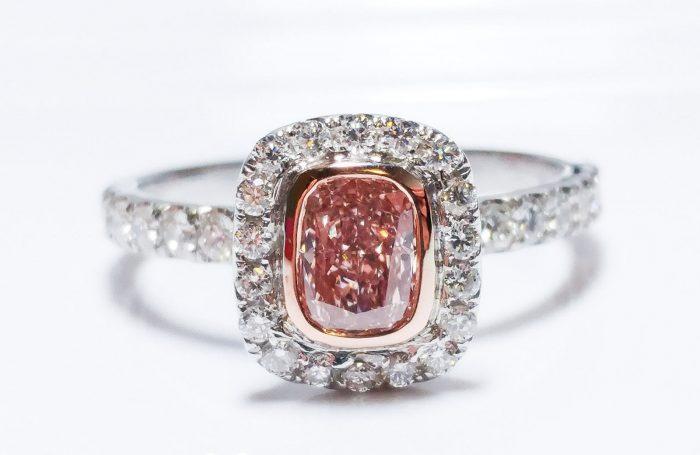 57 17 3 700x455 - 1.00ct Natural Fancy Orangy Pink Diamond Platinum Engagement Ring GIA Cushion SI