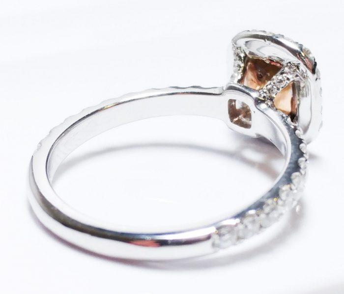 57 17 4 700x599 - 1.00ct Natural Fancy Orangy Pink Diamond Platinum Engagement Ring GIA Cushion SI
