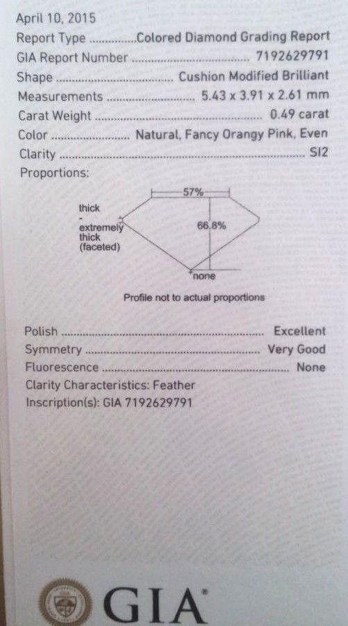 57 17 5 - 1.00ct Natural Fancy Orangy Pink Diamond Platinum Engagement Ring GIA Cushion SI