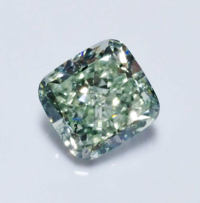57 25 3 700x709 - Green Diamond - 1.01ct Natural Loose Fancy Light Green Color Diamond GIA Cushion