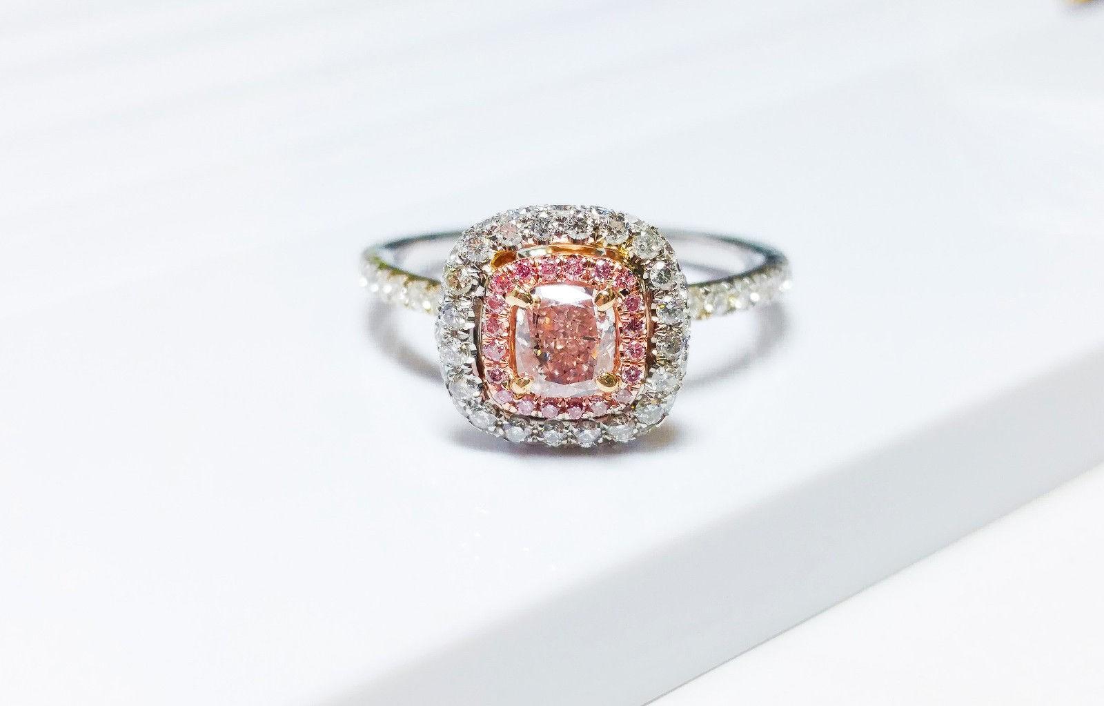 1.06 CT Fancy Pink Diamond Engagement Ring GIA Cushion Hallo 18K White Gold VS1