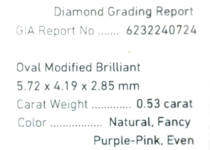 57 82 3 700x499 - 0.53ct Pink Diamond - Natural Loose Fancy Purple Pink Color GIA Oval Shape SI2