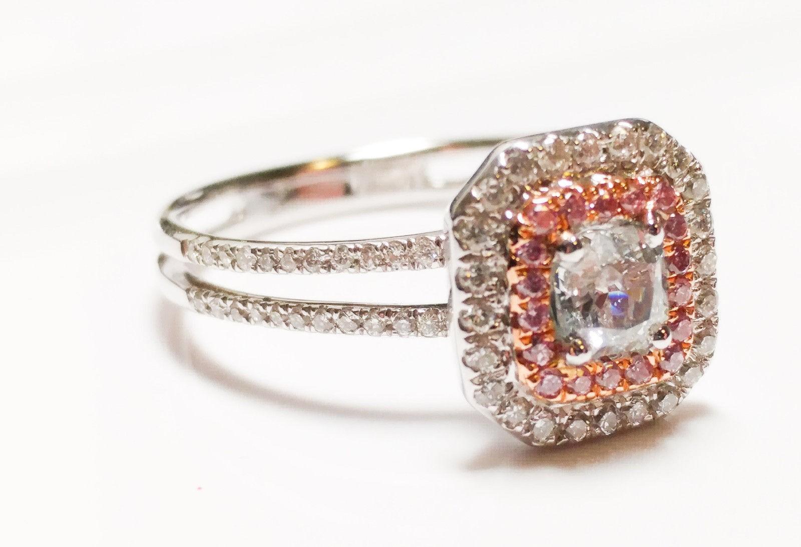 0.65ct Light Blue &  Intense Pink Diamond Engagement Ring GIA 18K White Gold SI2