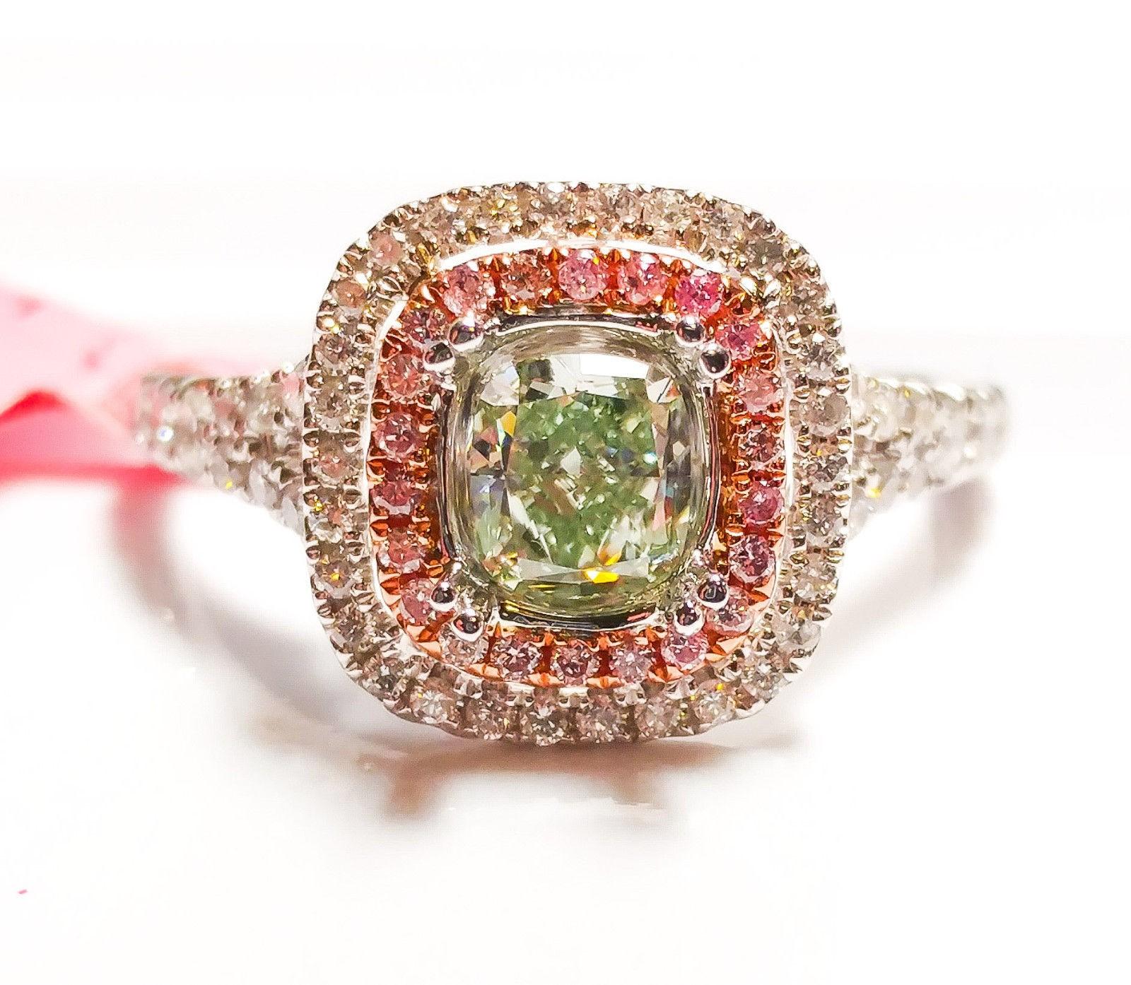 1.02ct Fancy Green & Intense Pink Diamond Engagement Ring GIA 18K White Gold SI1