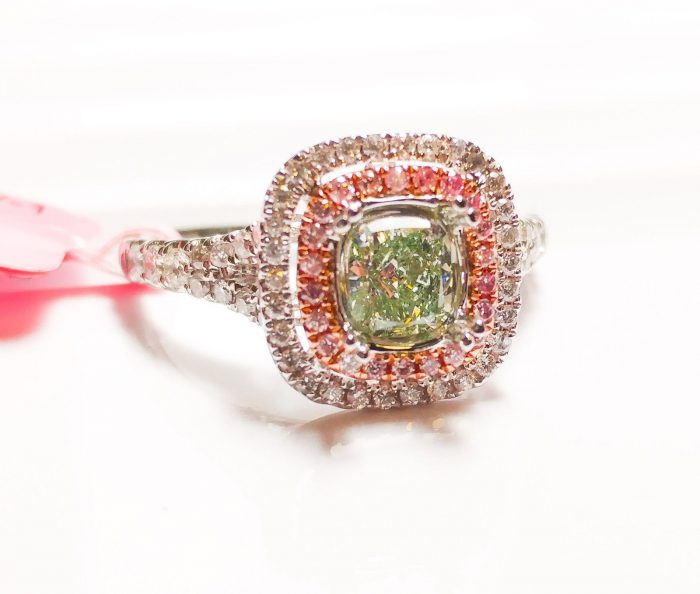 57 96 2 700x594 - 1.02ct Fancy Green & Intense Pink Diamond Engagement Ring GIA 18K White Gold SI1
