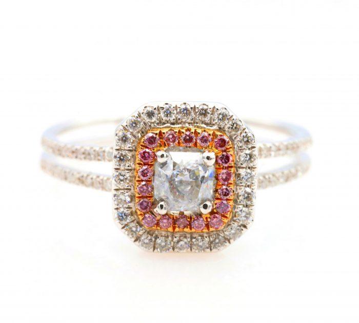 vl blue ring1 700x629 - 0.65ct Light Blue & Intense Pink Diamond Engagement Ring GIA 18K White Gold SI2