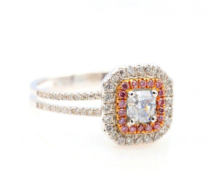 vl blue ring35 700x570 - 0.65ct Light Blue & Intense Pink Diamond Engagement Ring GIA 18K White Gold SI2