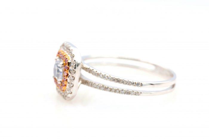 vl blue ring8 700x467 - 0.65ct Light Blue & Intense Pink Diamond Engagement Ring GIA 18K White Gold SI2