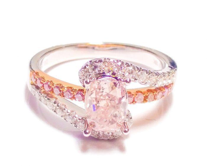 57 5 1 700x564 - 1.40ct Natural Fancy Pink Diamond Engagement Ring GIA Cushion SI2 18K White Gold