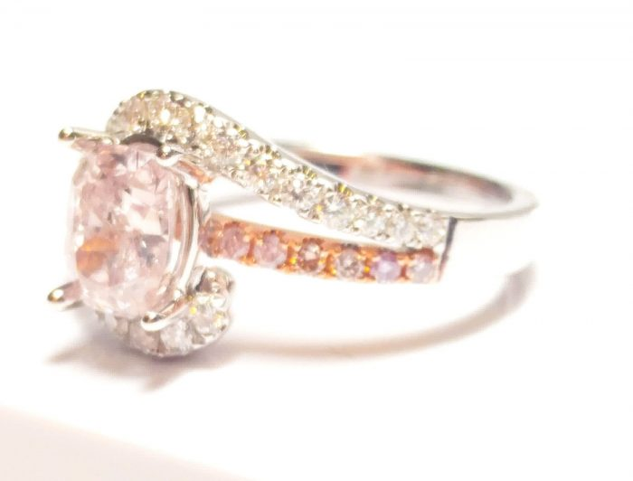 57 5 2 700x532 - 1.40ct Natural Fancy Pink Diamond Engagement Ring GIA Cushion SI2 18K White Gold
