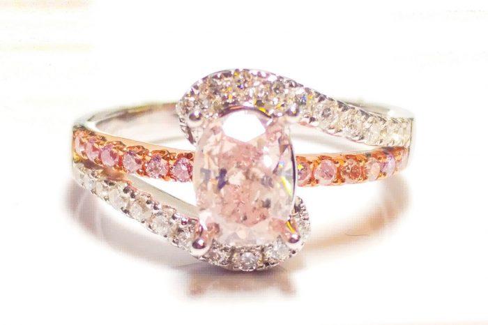 57 5 3 700x466 - 1.40ct Natural Fancy Pink Diamond Engagement Ring GIA Cushion SI2 18K White Gold