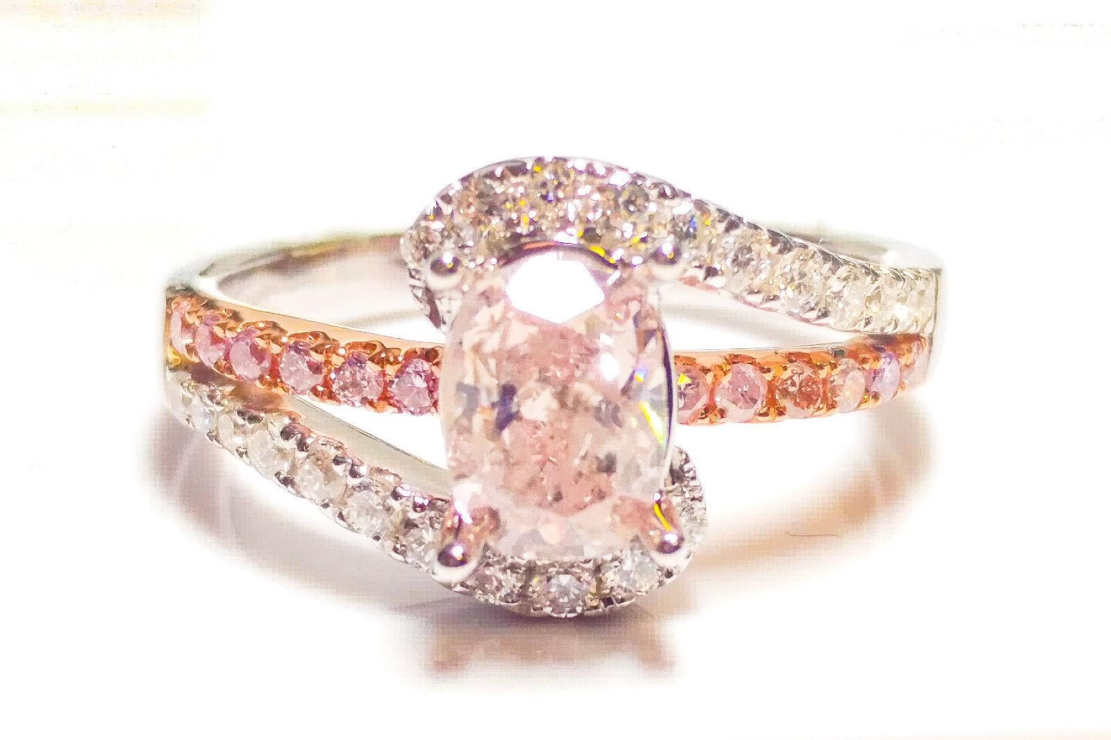 1.40ct Natural Fancy Pink Diamond Engagement Ring GIA Cushion SI2 18K White Gold