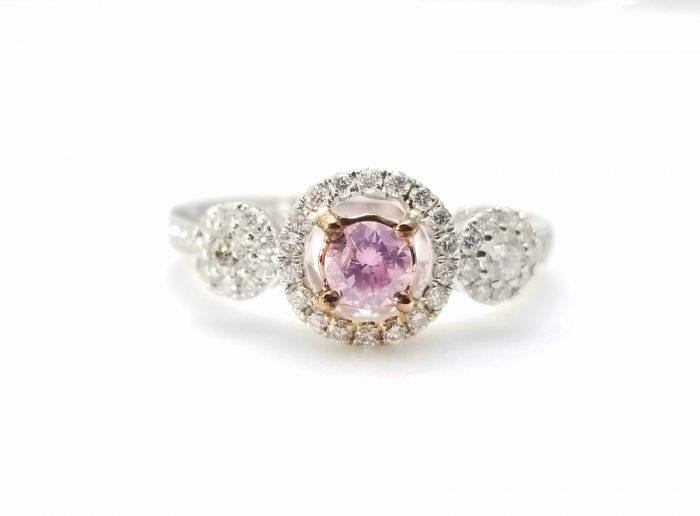 57 11 700x516 - 1.03ct Fancy Pink Diamond Engagement Ring GIA Round Hallo 18K White Gold SI1