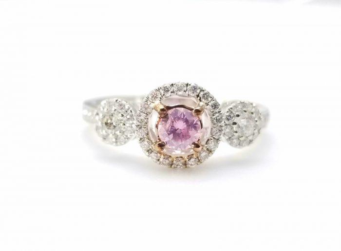 57 12 1 700x516 - 1.03ct Fancy Pink Diamond Engagement Ring GIA Round Hallo 18K White Gold SI1