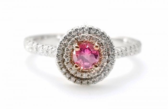 57 14 1 700x453 - 1.06ct Fancy Deep Pink Vivid Diamond Engagement Ring GIA Round Hallo 18K Gold
