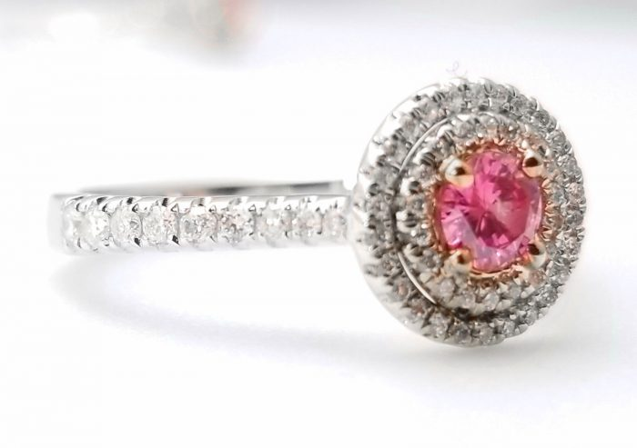 57 14 2 700x493 - 1.06ct Fancy Deep Pink Vivid Diamond Engagement Ring GIA Round Hallo 18K Gold
