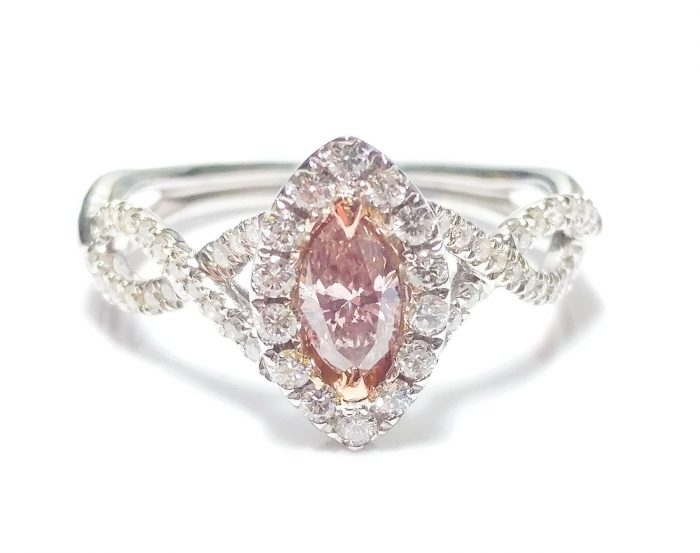 57 2 1 700x553 - 0.86ct Fancy Pink Diamond Engagement Ring GIA Marquise Hallo 18K White Gold Si1