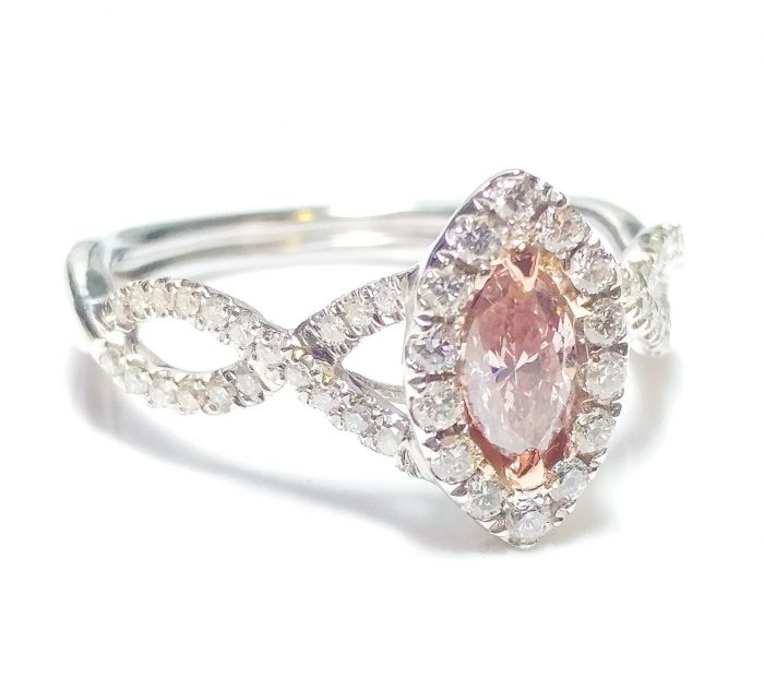 57 2 2 700x632 - 0.86ct Fancy Pink Diamond Engagement Ring GIA Marquise Hallo 18K White Gold Si1