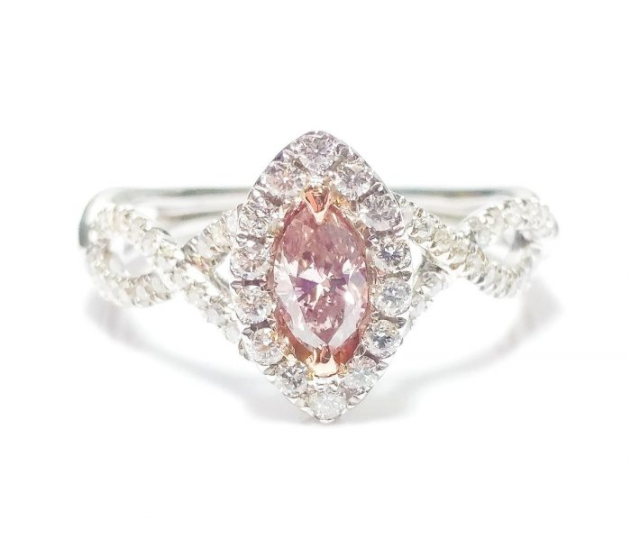 57 2 4 700x598 - 0.86ct Fancy Pink Diamond Engagement Ring GIA Marquise Hallo 18K White Gold Si1