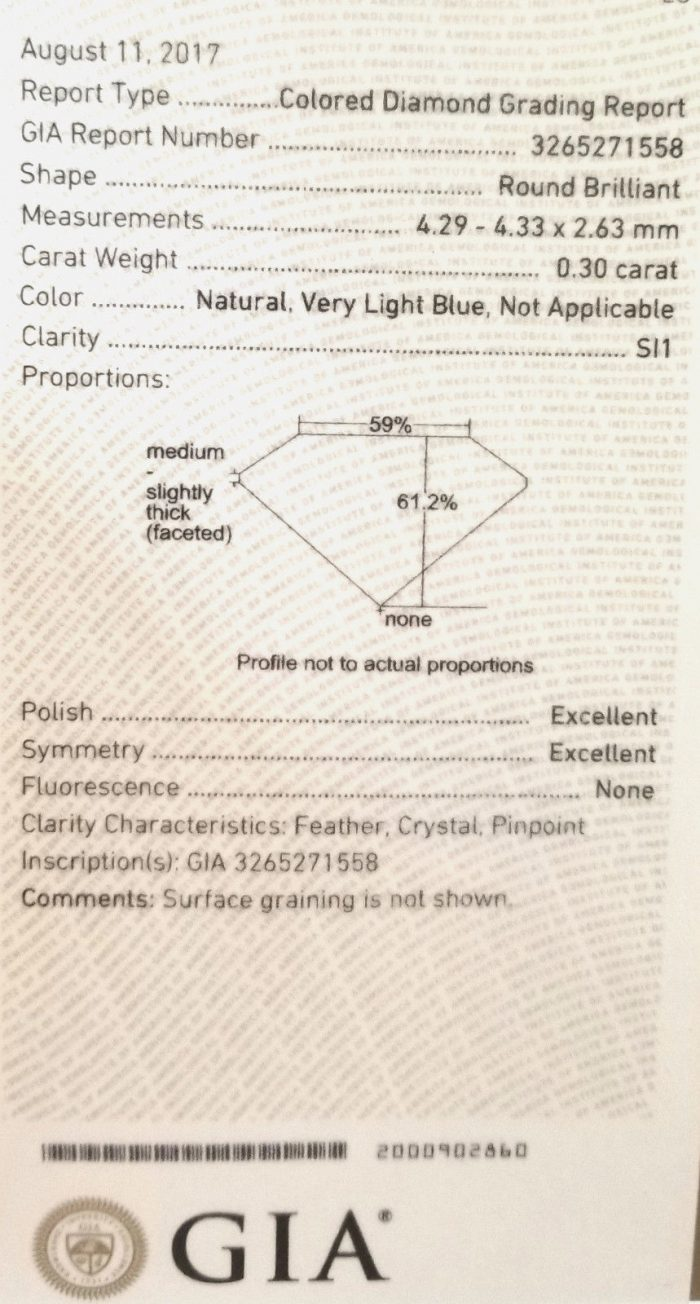 57 6 2 700x1304 - Blue Diamond - 0.30ct Natural Loose Light Blue Color GIA Round Shape SI1 Real