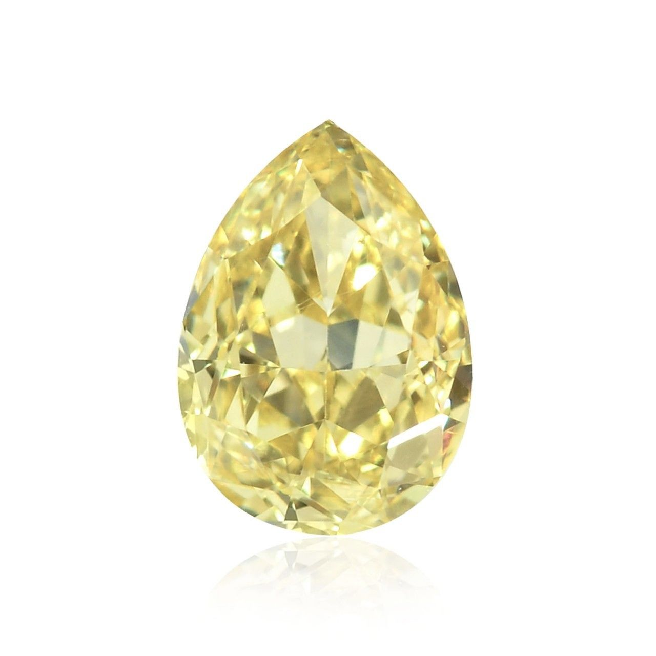 IF 1.51ct Natural Loose Fancy Light Yellow Diamond GIA Pear Shape Flawless